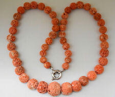 """Antique Chinese Salmon Red Coral Necklace with Silver Clasp 24"""" Long"""