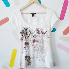 WHBM Floral Sequin Scoop Neck Blouse Top Size Small