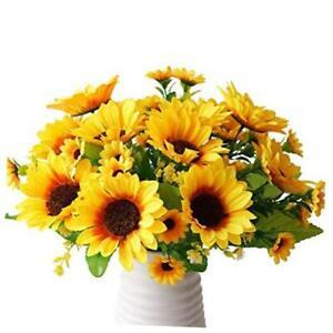 2 Bunches Artificial Sunflowers Fake Silk Flower Bouquet Artificial Flowers