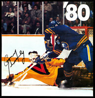VANCOUVER CANUCKS VS SABRES GARY BROMLEY PHOTO ADD 7.5X7.5 HAND SIGNED AUTOGRAPH