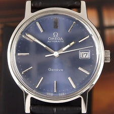 Authentic Omega Geneve Date Blue Dial Stainless Steel Automatic Mens Wrist Watch