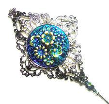 Victorian Filigree Stick Hat Pin Blue Green Flowers Cab Long Hatpin Silver Plt