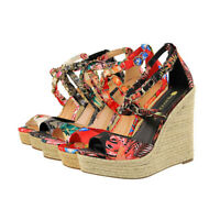 Summer Women Peep Toe Floral Espadrille Sandals Cross Strap Wedge Platform Shoes