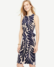 Ann Taylor- Size 10 Blue & Maple Blush Leaf Petal Peplum Sheath Dress 139.00 (H)