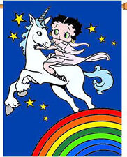 "Betty Boop Unicorn Gift House Size 28"" x 40"" Applique Flag 6- Tg 36016"