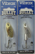 2 - BLUE FOX  Vibrax Bullet Fly Spinners - Size 3 (3/8 oz.) - Gold & Silver