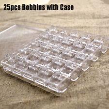 25Pcs Sewing Machine Spools Thread Empty Bobbins + Transparent Storage Case Box