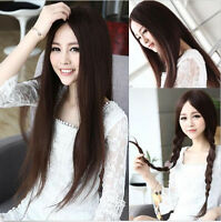Women's Straight Long Full Hair Wigs With Parted Bangs Cosplay Party Wigs+Gift