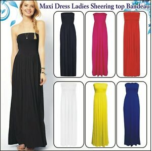 Strapless Smocked Maxi Dress Ladies Sheering top Bandeau Long shirred ruched