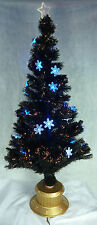 72 Inch Black Fibre Optic Christmas Tree With Blue Snowflakes (FO72BKSF)