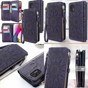 For Motorola Moto G Stylus 2021 Wallet Case Wristlet Leather Folio Flower Purple