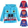 Cute Baby Boy Zip-up Hoodie Hooded Sweatshirt  Superman Spiderman Jacket Coat