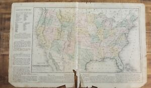 Antique Hand Colored MAP - UNITED STATES / Common School Geography 1873