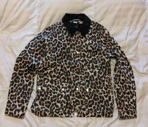 J Crew Barn Chore Jacket Black Leopard Size S SMALL, MSRP $179