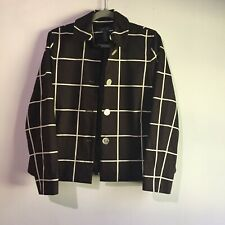 Lauren Ralph Lauren Women's Brown Blazer with White Stripes and Buttons SZ Small