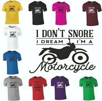 Mens T Shirt Snore Motorcycle Funny Rude Sarcastic Joke Novelty Top S - 2XL Gift
