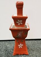 Circa 1900 Chinese Famille Rouge Porcelain Floral Motifs Temple Candlestick
