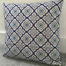"Blue Moroccan Tiles Cushion Cover 55cm 22 X 22"" Geometric"