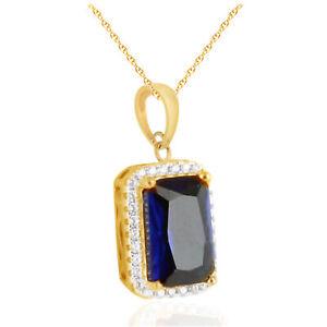 Emerald Blue Sapphire & Simulated Pendant Necklace Men's 925