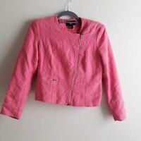 H&M Bubble gum Pink Tweed Boucle Moto Jacket blazer  Size 8 small