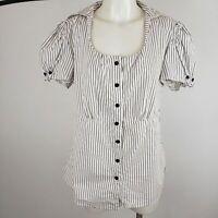 Lane Bryant Pinstripe Cap Sleeve Blouse PLUS Size 14/16 CAREER OFFICE WEAR