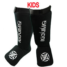 Shinobi Shin And Instep Guards Kids - Black Muay Thai Kick Boxing Guards
