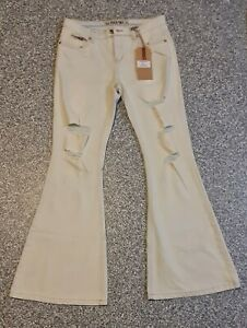 Face Off Ladies Jeans Flare Bleach Size 12 NWT