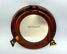 "Maritime Porthole 11"" Antique Canal Boat Porthole-Mirror Ship Round Glass Decor"
