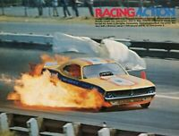 1973 Magazine Pic of Super Mike Diedrich Funny Car in flames