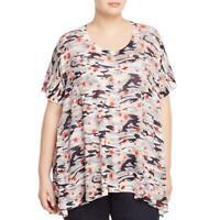 Nally & Millie Womens Camo Print Knit V-Neck Tunic Top Shirt Plus BHFO 1372