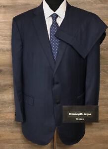 Ermenegildo Zegna Trofeo Mens Blue Mila Check Two-Button Business Suit 46R 39X29