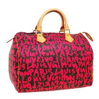 LOUIS VUITTON SPEEDY 30 HAND BAG AA4048 PINK MONOGRAM GRAFFITI M93704 AK46014