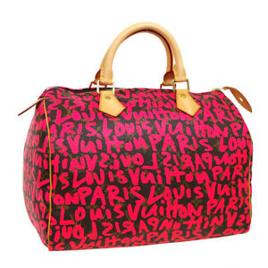 LOUIS VUITTON SPEEDY 30 HAND BAG AA4048 PINK MONOGRAM GRAFFITI M93704 04960