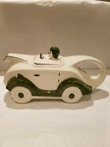 HT 43 Porcelain / China Racing Car Teapot Possibly by Shirehall Pottery.