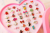 Kids Girls Cute Cartoon Alloy Rings Jewelry for Kids Birthday Gift 2/10PCs