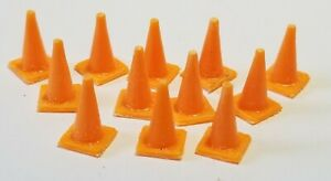 """LMH Detail Part TRAFFIC CONE Cones 28"""" Ht 15"""" Base ORANGE Safety 12 PC S-Scale"""