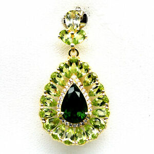 NATURAL GREEN CHROME DIOPSIDE & GREEN PERIDOT 925 STERLING SILVER PENDANT