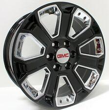New 20 inch GMC Gloss Black w/ Chrome Inserts Wheels Rims Sierra Yukon Denali