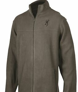 Browning Men's Charcoal Gray Fleece Jacket Coat, Buckmark Logo