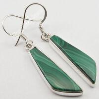 """.925 Sterling Silver MALACHITE Fancy Flat Gemstones Earrings 1.7"""" Unseen Design"""