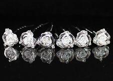 6X ROSE BRIDAL CLEAR AUSTRIAN RHINESTONE CRYSTAL HAIRPIN PICKS WEDDING P1561