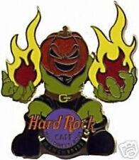 Hard Rock Cafe MANCHESTER 2001 HALLOWEEN PIN Pumpkin Head Monster with Flames