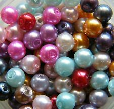 200pcs 4mm Round Glass Pearls - Mixed Colours