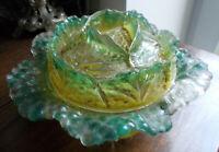 ancienne bonbonnière  chou nuance de vert verrerie de Portieux (non marquée)