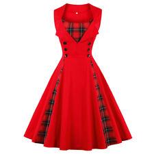Womens Vintage 50s Rockabilly Polka Dot Floral Print Skater Swing Dress S-4XL