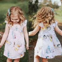 Toddler Kids Baby Girls Princess Clothes Short Sleeve Dress Tutu Skirt Sunsuit