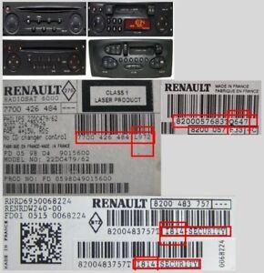 INSTANT Renault Megane Scenic Laguna Clio Twingo Radio Kangoo UNLOCK CODE DECODE