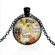 1896 Garden Catalog Black Glass Cabochon Necklace chain Pendant Wholesale