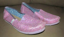 Toms Youth Classic Sparkle Glitter Pink Flats Slip-on Shoes Size Y5.5 Y 5.5