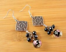 Handmade Bohemian Tibetan Style Dangle Earrings with Black Glass Beads #1508